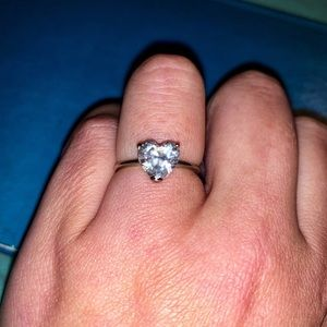 Sterling Silver CZ Heart Solitaire Ring